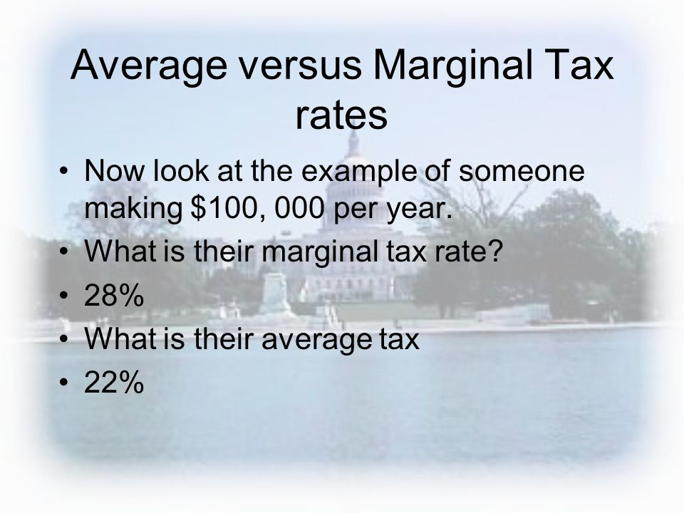 Average versus Marginal Tax rates Now look at the example of someone making $100, 000 per year.