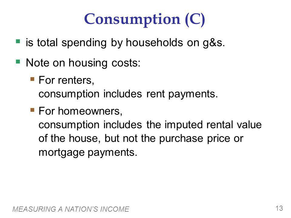 MEASURING A NATIONS INCOME 13 Consumption (C) is total spending by households on g&s. Note on housing costs: For renters, consumption includes rent pa
