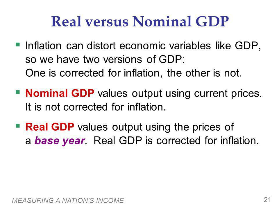MEASURING A NATIONS INCOME 21 Real versus Nominal GDP Inflation can distort economic variables like GDP, so we have two versions of GDP: One is correc