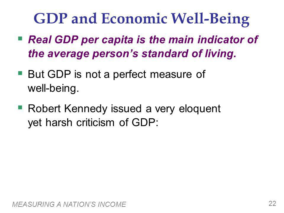 MEASURING A NATIONS INCOME 22 GDP and Economic Well-Being Real GDP per capita is the main indicator of the average persons standard of living. But GDP