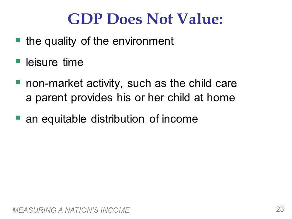 MEASURING A NATIONS INCOME 23 GDP Does Not Value: the quality of the environment leisure time non-market activity, such as the child care a parent pro