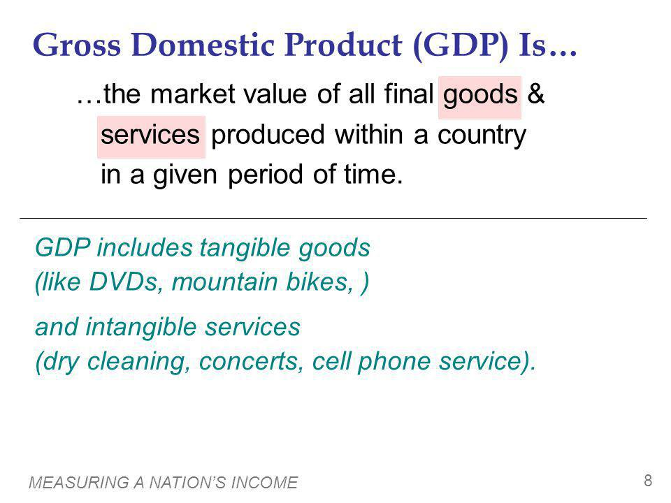 MEASURING A NATIONS INCOME 8 …the market value of all final goods & services produced within a country in a given period of time. Gross Domestic Produ