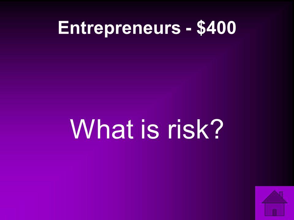Entrepreneurs - $400 What is risk
