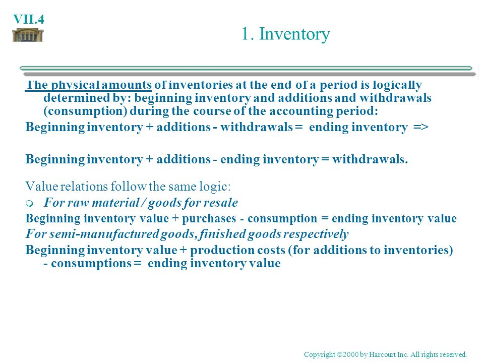 VII.4 1. Inventory The physical amounts of inventories at the end of a period is logically determined by: beginning inventory and additions and withdr