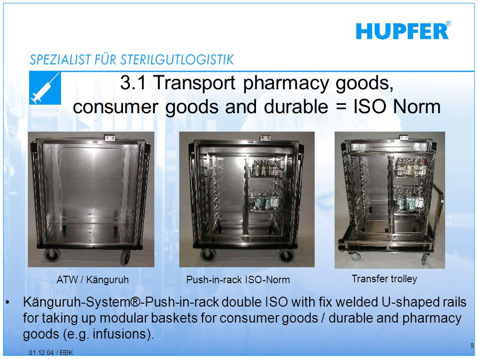 3.1 Transport pharmacy goods, consumer goods and durable = ISO Norm 01.12.04 / BBK 9 Känguruh-System®-Push-in-rack double ISO with fix welded U-shaped rails for taking up modular baskets for consumer goods / durable and pharmacy goods (e.g.