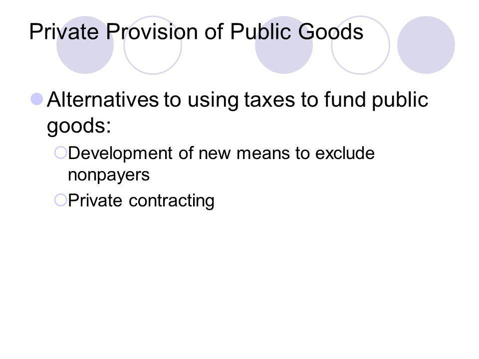Private Provision of Public Goods Alternatives to using taxes to fund public goods: Development of new means to exclude nonpayers Private contracting
