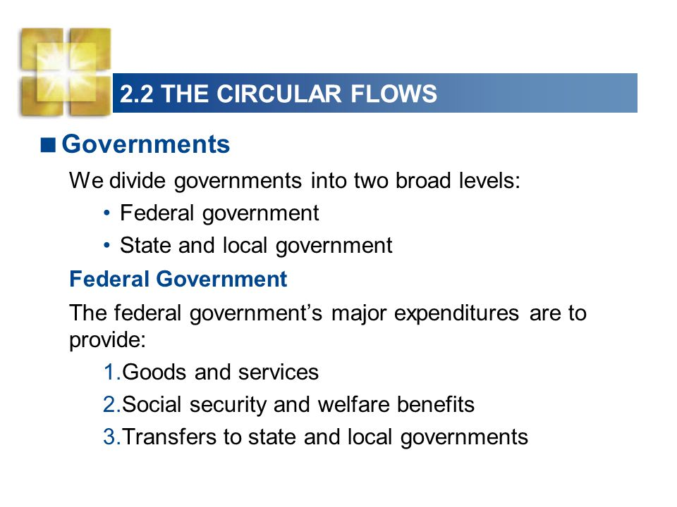 Governments We divide governments into two broad levels: Federal government State and local government Federal Government The federal governments majo