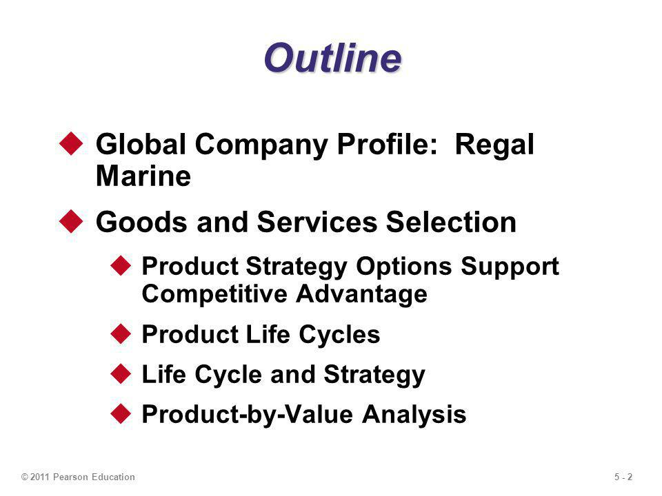 5 - 3© 2011 Pearson Education Outline - Continued Generating New Products New Product Opportunities Importance of New Products Product Development Product Development System Quality Function Deployment (QFD) Organizing for Product Development Manufacturability and Value Engineering
