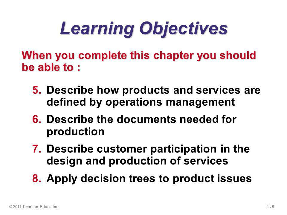 5 - 20© 2011 Pearson Education Product Life Cycle Costs Costs incurred Costs committed Ease of change ConceptDetailedManufacturingDistribution, designdesignservice, prototypeand disposal Percent of total cost 100 – 80 – 60 – 40 – 20 – 0 –