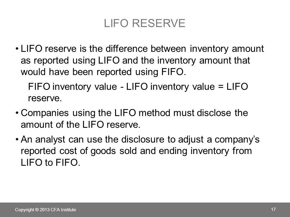 LIFO RESERVE EXAMPLE: DISCLOSURE Inventories Inventories are stated at the lower of cost or market.