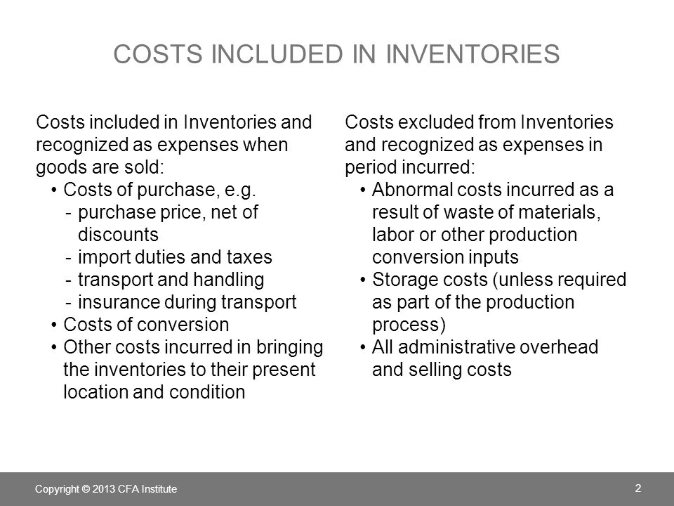 COSTS INCLUDED IN INVENTORIES: EXAMPLE Assume that during a year, a table manufacturing company -produced 900,000 finished tables incurring -raw material costs of 9 million, -direct labour conversion costs of 18 million, and -production overhead costs of 1.8 million.