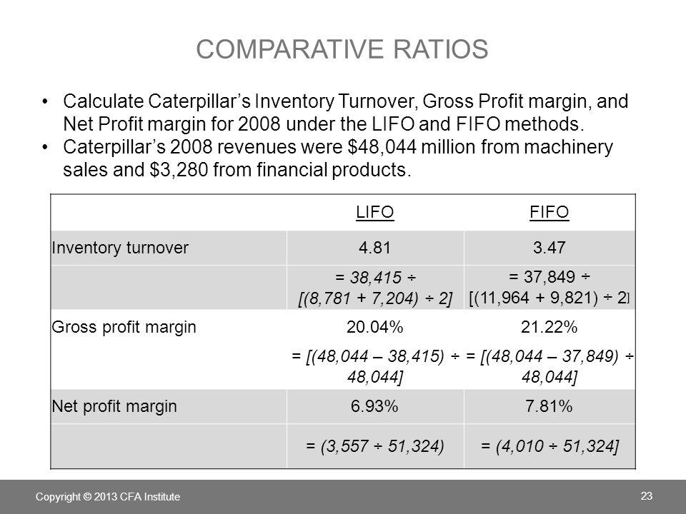 COMPARATIVE RATIOS LIFOFIFO Current ratio1.211.34 = (31,633 ÷ 26,069) = [(31,633 + 3,183) ÷ 26,069] Total liabilities-to-equity ratio10.057.41 = (61,171 ÷ 6,087) = [(61,171 +898) ÷ (6,087 + 2,285)] Copyright © 2013 CFA Institute 24 Calculate Caterpillars Current Ratio and Total liabilities-to- equity for 2008 under the LIFO and FIFO methods.