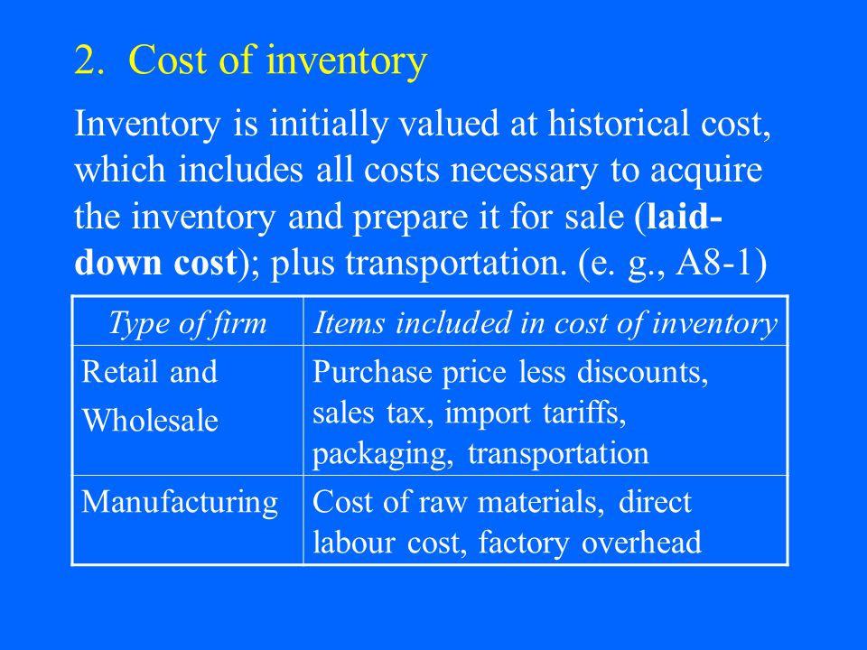2. Cost of inventory Inventory is initially valued at historical cost, which includes all costs necessary to acquire the inventory and prepare it for
