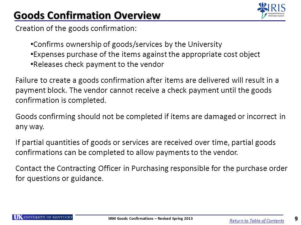 Set Requestor Number – Confirmations Pending 30 4.