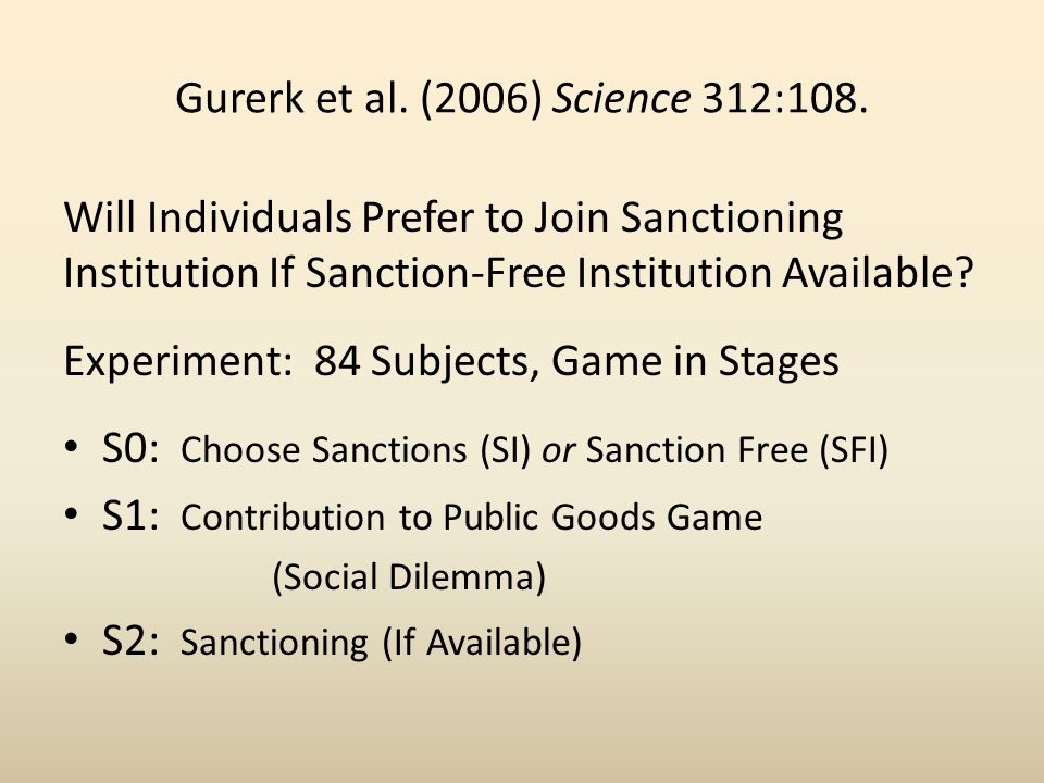 Gurerk et al. (2006) Science 312:108. Will Individuals Prefer to Join Sanctioning Institution If Sanction-Free Institution Available? Experiment: 84 S