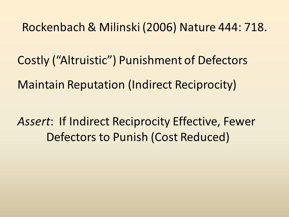 Rockenbach & Milinski (2006) Nature 444: 718. Costly (Altruistic) Punishment of Defectors Maintain Reputation (Indirect Reciprocity) Assert: If Indire