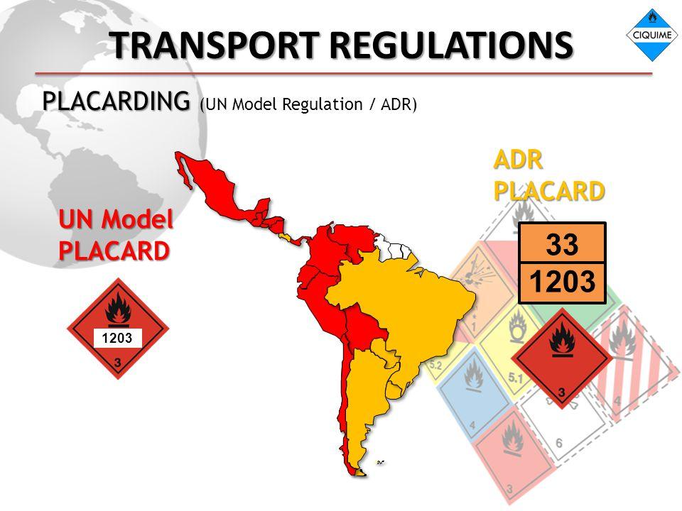 TRANSPORT REGULATIONS PLACARDING PLACARDING (UN Model Regulation / ADR) ADR PLACARD 33 1203 UN Model PLACARD 1203