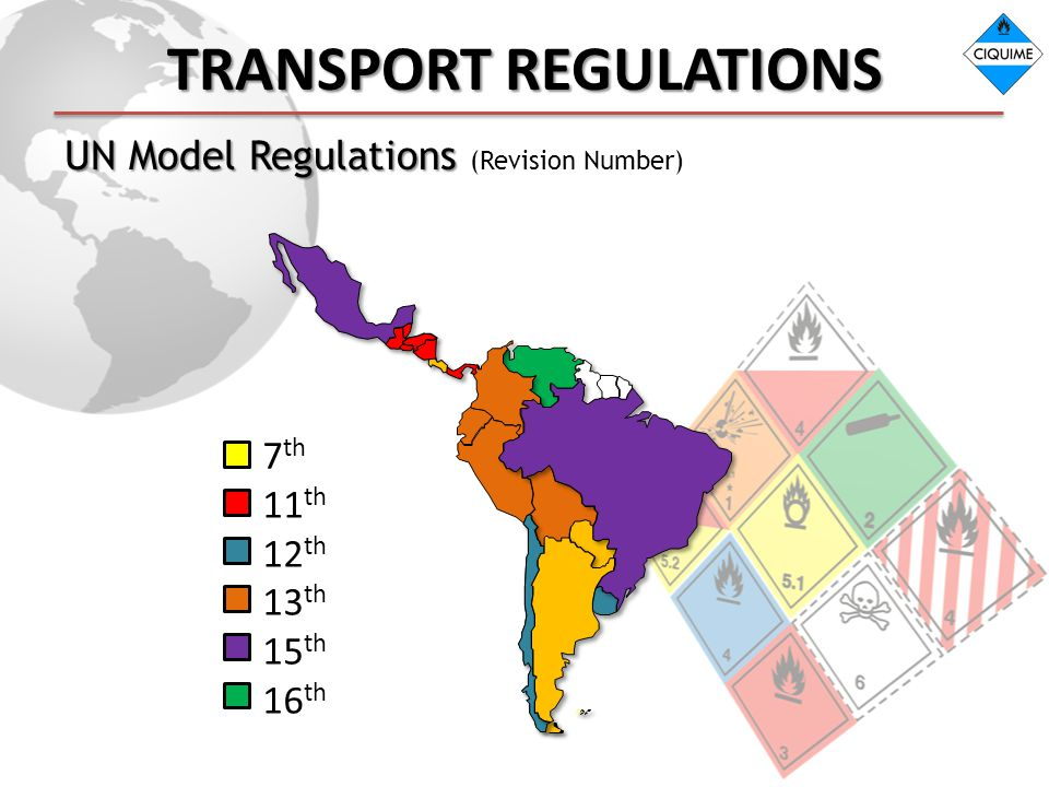 TRANSPORT REGULATIONS UN Model Regulations UN Model Regulations (Revision Number) 7 th 11 th 12 th 13 th 15 th 16 th