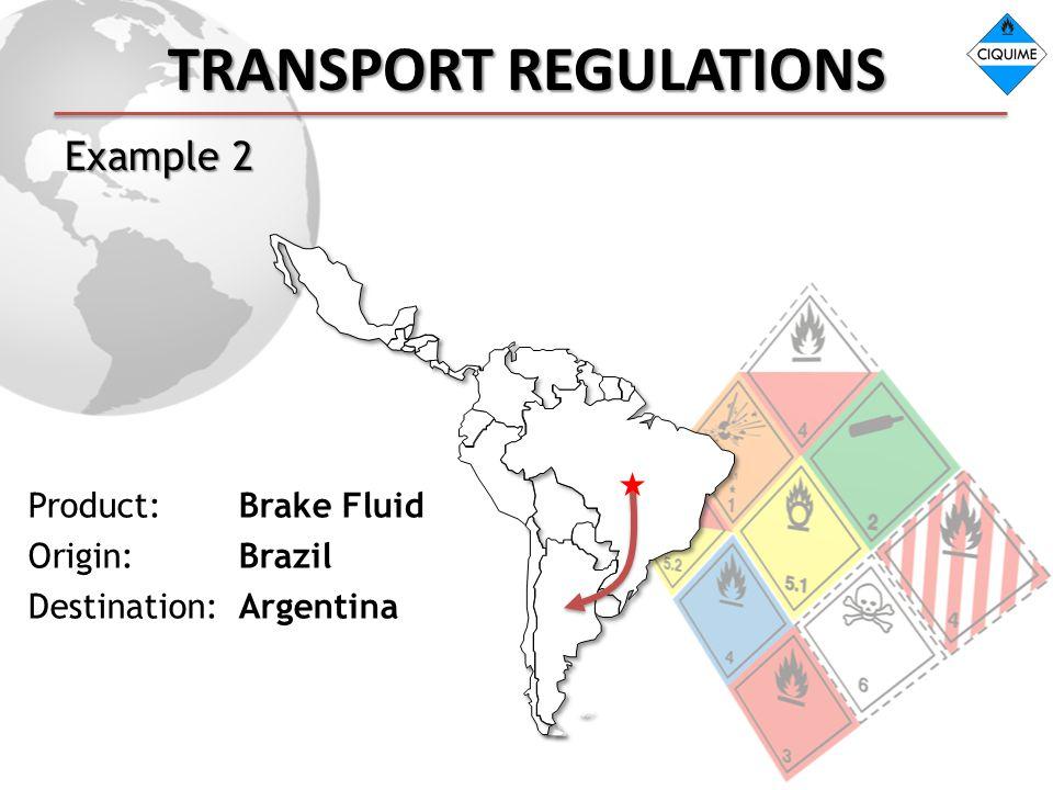 TRANSPORT REGULATIONS Example 2 Product: Brake Fluid Origin: Brazil Destination: Argentina