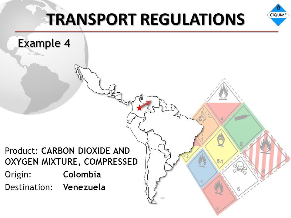 TRANSPORT REGULATIONS Example 4 Product: CARBON DIOXIDE AND OXYGEN MIXTURE, COMPRESSED Origin: Colombia Destination: Venezuela