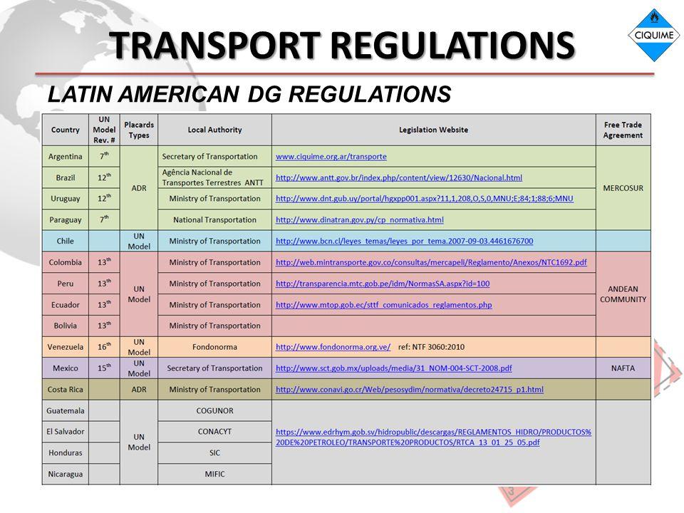 TRANSPORT REGULATIONS LATIN AMERICAN DG REGULATIONS