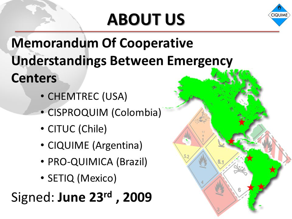 ABOUT US Memorandum Of Cooperative Understandings Between Emergency Centers CHEMTREC (USA) CISPROQUIM (Colombia) CITUC (Chile) CIQUIME (Argentina) PRO-QUIMICA (Brazil) SETIQ (Mexico) Signed: June 23 rd, 2009