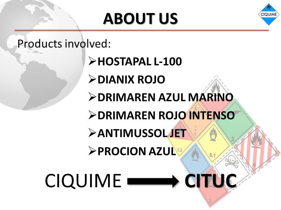 ABOUT US Products involved: HOSTAPAL L-100 DIANIX ROJO DRIMAREN AZUL MARINO DRIMAREN ROJO INTENSO ANTIMUSSOL JET PROCION AZUL CITUC CIQUIME CITUC