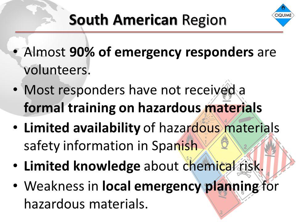South American Region Almost 90% of emergency responders are volunteers.