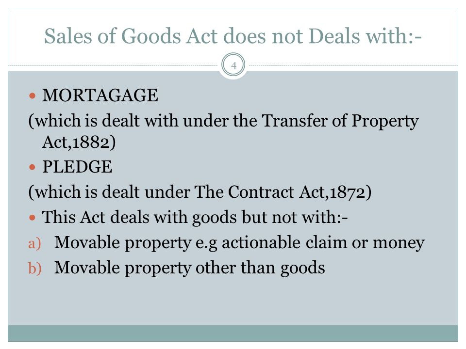 CONTRACT OF SALE 14 Under Section 4(3) the Contract of Sale Includes:- 1) SALE:- Sale means where the ownership in goods is transferred.