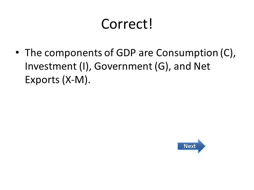 Correct! The components of GDP are Consumption (C), Investment (I), Government (G), and Net Exports (X-M). Next