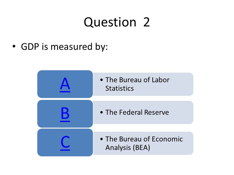 Question 2 GDP is measured by: The Bureau of Labor Statistics A The Federal Reserve B The Bureau of Economic Analysis (BEA) C