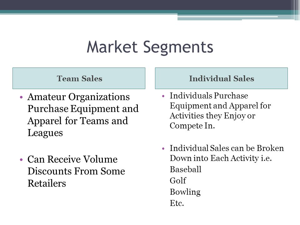Market Segments Team SalesIndividual Sales Amateur Organizations Purchase Equipment and Apparel for Teams and Leagues Can Receive Volume Discounts From Some Retailers Individuals Purchase Equipment and Apparel for Activities they Enjoy or Compete In.