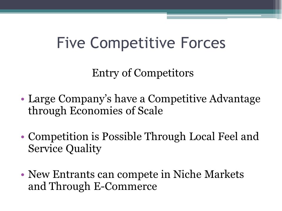 Five Competitive Forces Entry of Competitors Large Companys have a Competitive Advantage through Economies of Scale Competition is Possible Through Local Feel and Service Quality New Entrants can compete in Niche Markets and Through E-Commerce