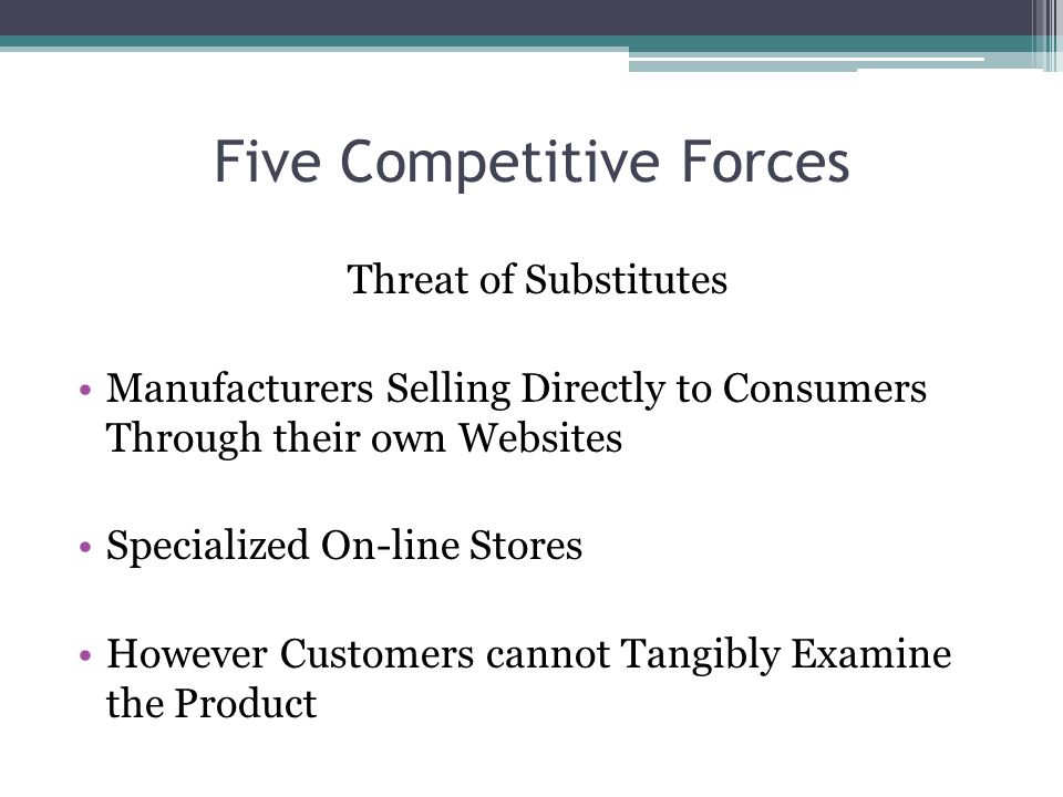 Five Competitive Forces Threat of Substitutes Manufacturers Selling Directly to Consumers Through their own Websites Specialized On-line Stores However Customers cannot Tangibly Examine the Product