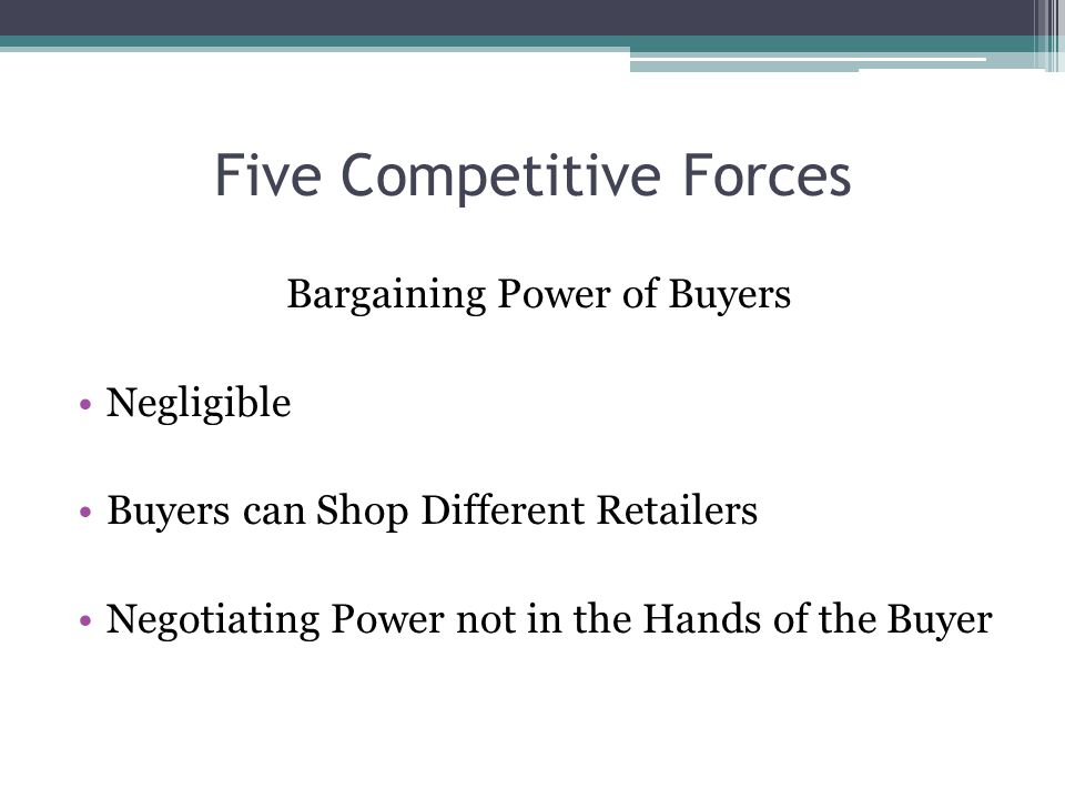 Five Competitive Forces Bargaining Power of Buyers Negligible Buyers can Shop Different Retailers Negotiating Power not in the Hands of the Buyer