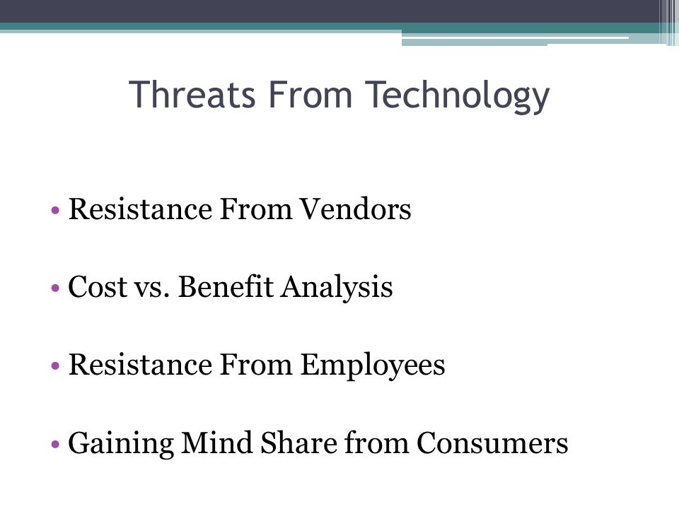Threats From Technology Resistance From Vendors Cost vs.