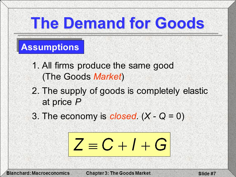 Chapter 3: The Goods MarketBlanchard: Macroeconomics Slide #18 Y = supply Z = Demand = Y = Z @ equilibrium The Determination of Equilibrium Output Finding Equilibrium