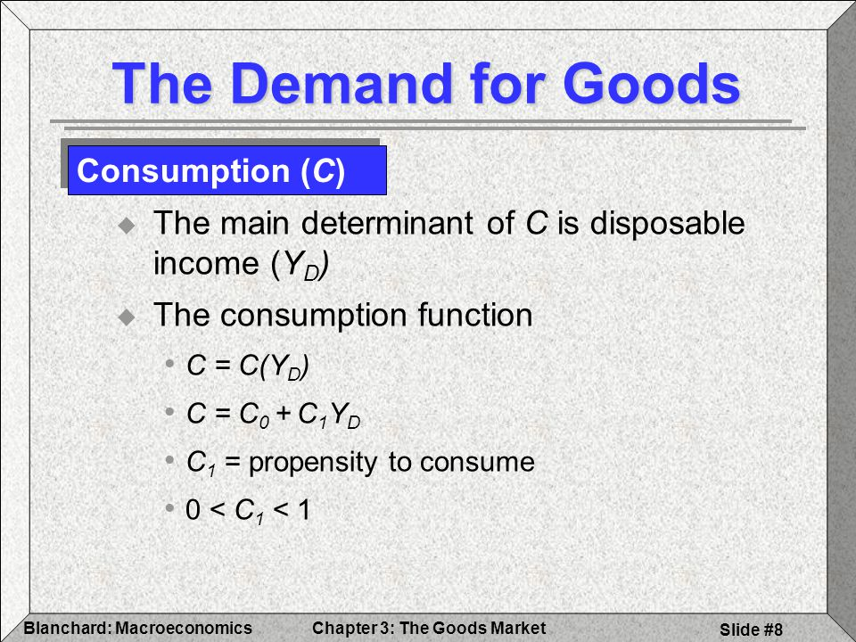 Chapter 3: The Goods MarketBlanchard: Macroeconomics Slide #19 1) Algebra to confirm the logic 2) Graphs to build the intuition 3) Words to explain the results The Determination of Equilibrium Output Three Steps to Solving a Model