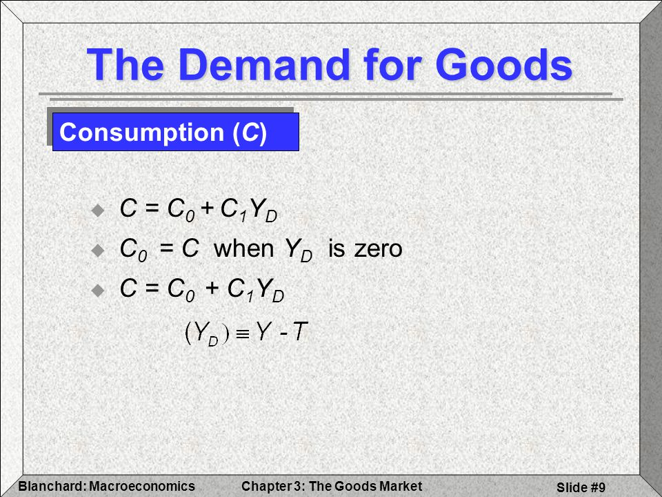 Chapter 3: The Goods MarketBlanchard: Macroeconomics Slide #10 Consumption and Disposable Income Disposable Income,Y D Consumption, c Consumption function C = c 0 + C 1 Y D Slope = c 1