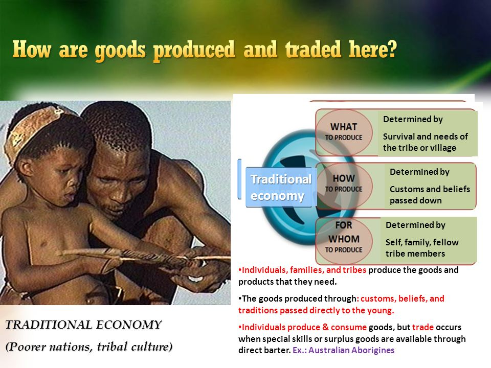 TRADITIONAL ECONOMY (Poorer nations, tribal culture) Traditional economy Determined by Survival and needs of the tribe or village Determined by Custom