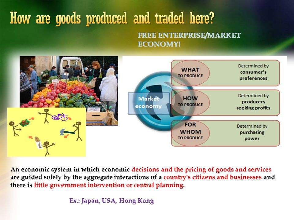 An economic system in which economic decisions and the pricing of goods and services are guided solely by the aggregate interactions of a country's ci