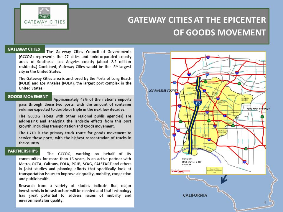 GATEWAY CITIES AT THE EPICENTER OF GOODS MOVEMENT CALIFORNIA ORANGE COUNTY LOS ANGELES COUNTY PORTS OF LONG BEACH & LOS ANGELES The Gateway Cities Council of Governments (GCCOG) represents the 27 cities and unincorporated county areas of Southeast Los Angeles county (about 2.2 million residents.) Combined, Gateway Cities would be the 5 th largest city in the United States.
