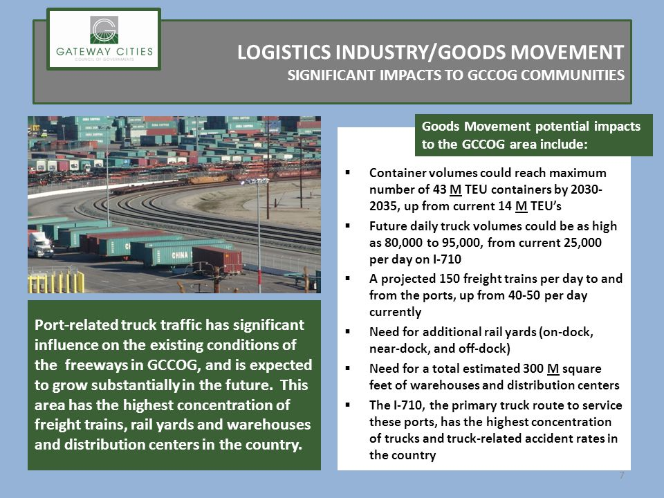LOGISTICS INDUSTRY/GOODS MOVEMENT SIGNIFICANT IMPACTS TO GCCOG COMMUNITIES Container volumes could reach maximum number of 43 M TEU containers by 2030- 2035, up from current 14 M TEUs Future daily truck volumes could be as high as 80,000 to 95,000, from current 25,000 per day on I-710 A projected 150 freight trains per day to and from the ports, up from 40-50 per day currently Need for additional rail yards (on-dock, near-dock, and off-dock) Need for a total estimated 300 M square feet of warehouses and distribution centers The I-710, the primary truck route to service these ports, has the highest concentration of trucks and truck-related accident rates in the country Port-related truck traffic has significant influence on the existing conditions of the freeways in GCCOG, and is expected to grow substantially in the future.