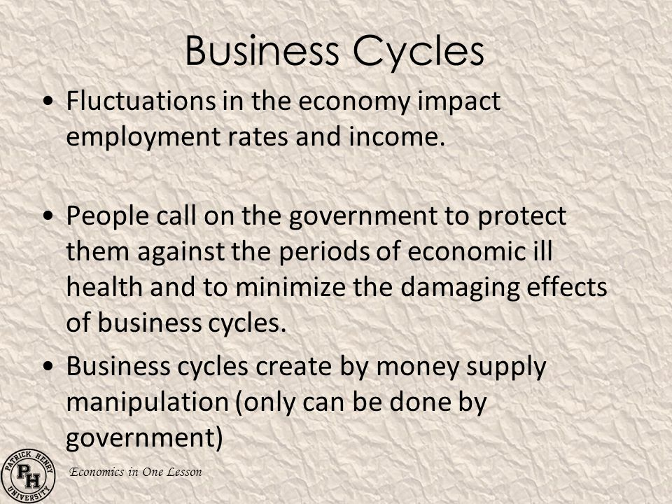 Economics in One Lesson Business Cycles Fluctuations in the economy impact employment rates and income. People call on the government to protect them