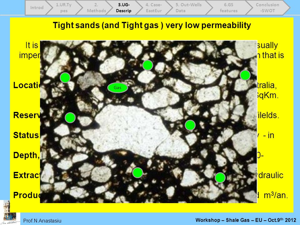 Prof.N.Anastasiu Workshop – Shale Gas – EU – Oct.9 th 2012 Tight sands (and Tight gas ) very low permeability It is stuck in a very tight formation un
