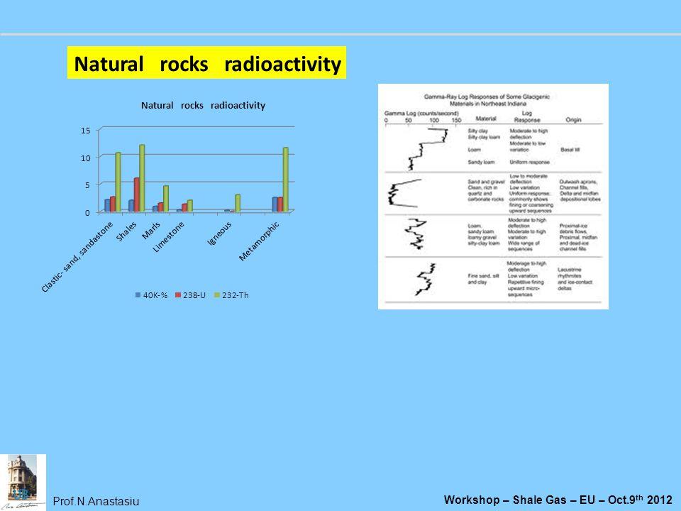 Prof.N.Anastasiu Workshop – Shale Gas – EU – Oct.9 th 2012 Natural rocks radioactivity