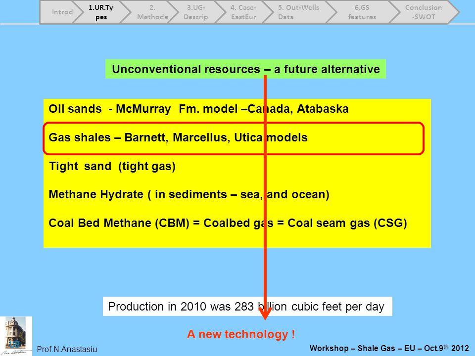 Prof.N.Anastasiu Workshop – Shale Gas – EU – Oct.9 th 2012 Oil sands - McMurray Fm. model –Canada, Atabaska Gas shales – Barnett, Marcellus, Utica mod
