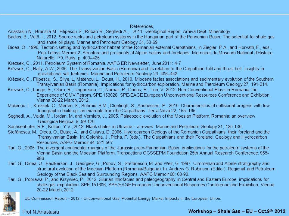 Prof.N.Anastasiu Workshop – Shale Gas – EU – Oct.9 th 2012 References, Anastasiu N., Branzila M., Filipescu S., Roban R., Seghedi A.,- 2011- Geologica