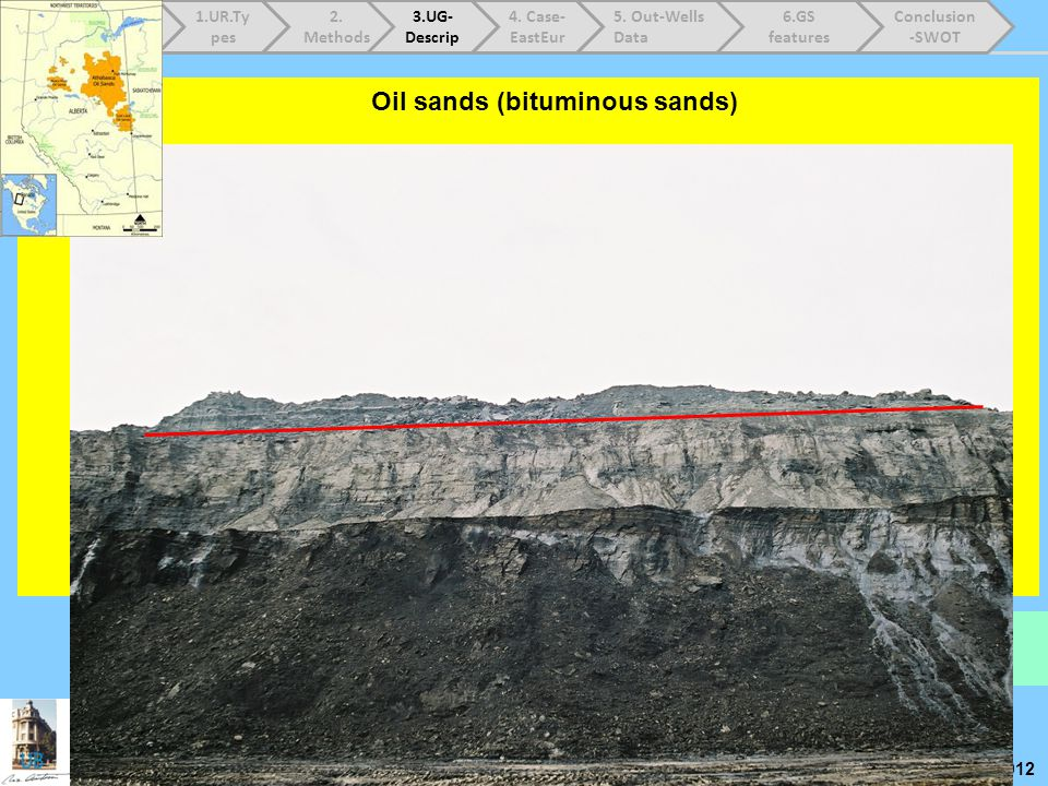 Prof.N.Anastasiu Workshop – Shale Gas – EU – Oct.9 th 2012 Oil sands (bituminous sands) Location : Canada, Kazakhstan, Rusia, Madagascar, SUA; Fort Mc
