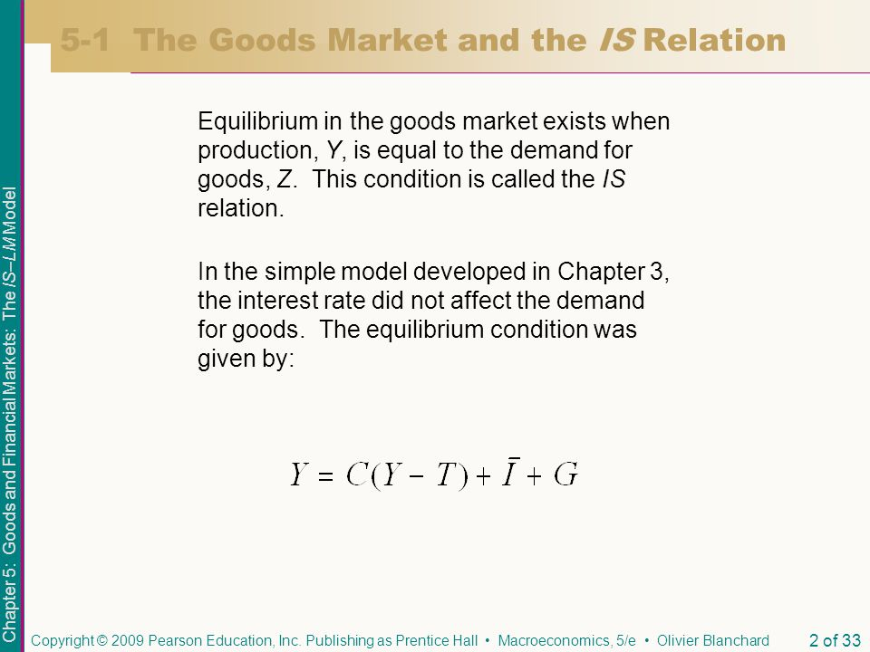 Chapter 5: Goods and Financial Markets: The IS–LM Model Copyright © 2009 Pearson Education, Inc.